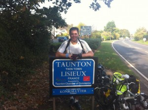 Rob during his last feat: Cycling Land's End to John O'Groats solo!